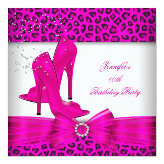 Hot Pink High Heel Shoe Leopard Birthday Party Card