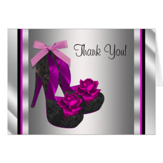 Hot Pink High Heel Shoe Thank You Stationery Note Card