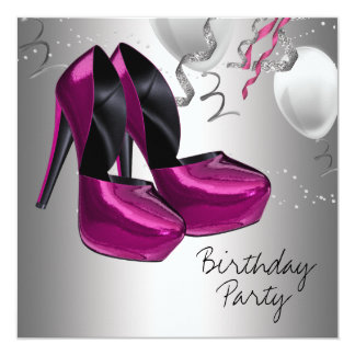Hot Pink High Heel Shoes Birthday Party Card