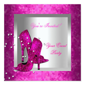 Hot Pink High Heel Shoes Silver Event Party Custom Invitation
