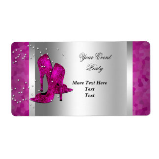 Hot Pink High Heel Shoes Silver Event Party Personalized Shipping Labels