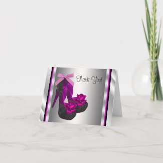 Hot Pink High Heel Shoes Thank You Cards card