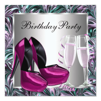 Hot Pink High Heel Shoes Womans Birthday Card