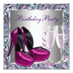 Hot Pink High Heel Shoes Womans Birthday Custom Announcement