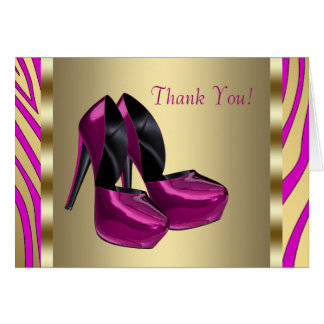 Hot Pink High Heel Shoes Zebra Thank You Cards