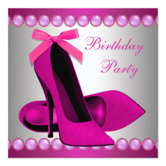 Hot Pink High Heels Shoes Birthday Party Card