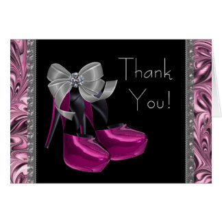 Hot Pink High Heels Thank You Card Note Card