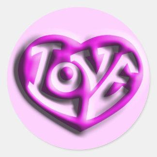 Hot Pink Hippie Love Heart Classic Round Sticker