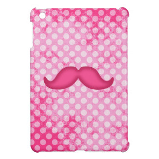 Hot Pink Hipster Mustache and Polka Dot Pattern Cover For The iPad Mini