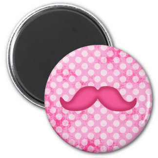 Hot Pink Hipster Mustache and Polka Dot Pattern Magnet