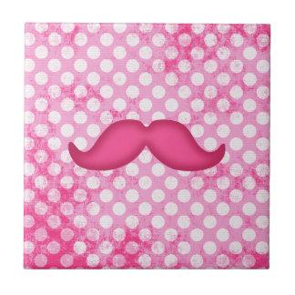 Hot Pink Hipster Mustache and Polka Dot Pattern Ceramic Tile