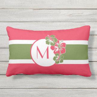 Hot Pink Hisbiscus Hawaiian Come in, Sit, Rest Outdoor Pillow
