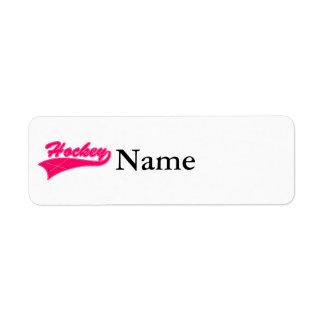 Hot Pink Hockey Logo Return Address Label