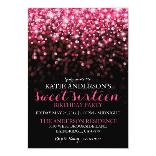 Hot Pink Hollywood Glitter Sweet Sixteen Party Card – Sweet Sixteen Invitation Cards