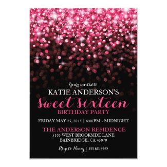 Hot Pink Hollywood Glitter Sweet Sixteen Party Invitation
