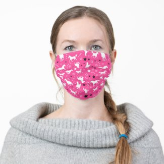 Hot Pink Horse Equestrian Pattern Cloth Face Mask
