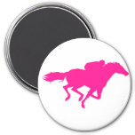 Hot Pink Horse Racing; Race Horse 3 Inch Round Magnet