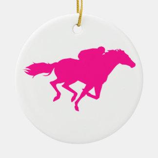 Hot Pink Horse Racing Race Horse Christmas Ornaments