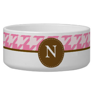 Hot Pink Houndstooth Monogram Bowl