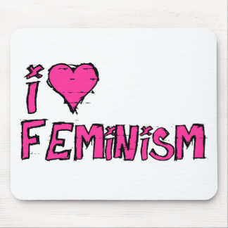 Hot Pink I Heart Feminism Mouse Pad