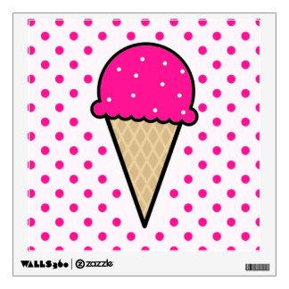 Hot Pink Ice Cream Cone Wall Sticker