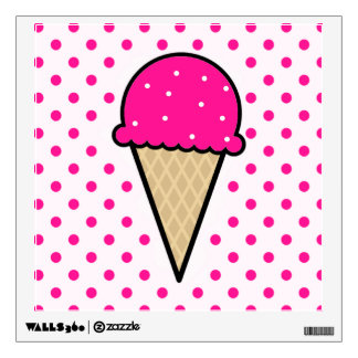 Hot Pink Ice Cream Cone Wall Stickers