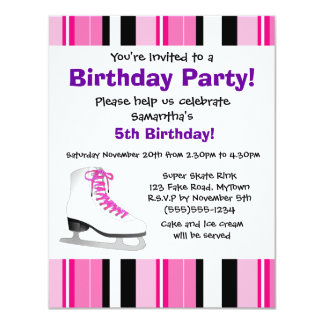 Hot Pink Ice Skating Birthday Party - Pink Stripe 4.25x5.5 Paper Invitation Card
