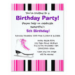 Hot Pink Ice Skating Birthday Party - Pink Stripe Invites