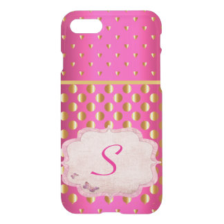 Hot Pink India Monogram Gold Coins Sari Inspired iPhone 8/7 Case