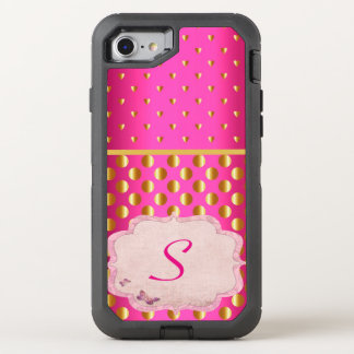 Hot Pink India Monogram Gold Coins Sari Inspired OtterBox Defender iPhone 7 Case