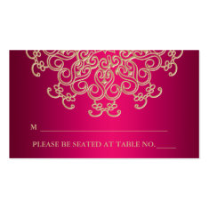Hot Pink Indian Inspired Seating Place Card Business Card Template