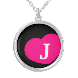 Hot Pink Inital Necklace