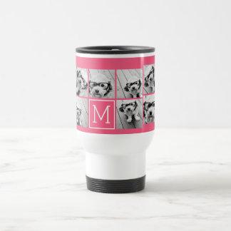 Hot Pink Instagram Photo Collage Custom Monogram 15 Oz Stainless Steel Travel Mug