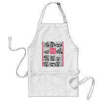 Hot Pink Instagram Photo Collage Custom Monogram Adult Apron