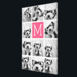 """Hot Pink Instagram Photo Collage Custom Monogram Canvas Print<br><div class=""""desc"""">Use up to 11 square or selfie phone photos to create a unique and personal gift. Or you can keep the hipster puppy and make a trendy keepsake. If you need to adjust the pictures,  click on the customize tool to make changes.</div>"""