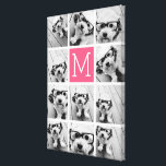 "Hot Pink Instagram Photo Collage Custom Monogram Canvas Print<br><div class=""desc"">Use up to 11 square or selfie phone photos to create a unique and personal gift. Or you can keep the hipster puppy and make a trendy keepsake. If you need to adjust the pictures,  click on the customize tool to make changes.</div>"