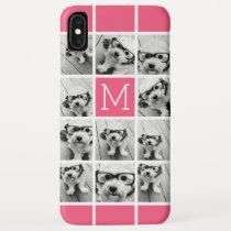 Hot Pink Instagram Photo Collage Custom Monogram iPhone XS Max Case