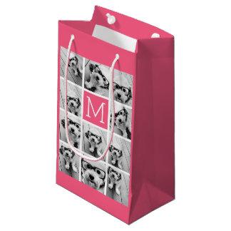 Hot Pink Instagram Photo Collage Custom Monogram Small Gift Bag