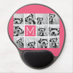 Hot Pink Instagram Photo Collage Custom Monogram Gel Mouse Pad at Zazzle