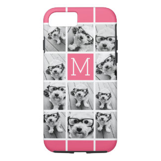 Hot Pink Instagram Photo Collage Custom Monogram iPhone 7 Case