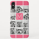 "Hot Pink Instagram Photo Collage Custom Monogram iPhone XS Max Case<br><div class=""desc"">Use up to 11 square or selfie phone photos to create a unique and personal gift. Or you can keep the hipster puppy and make a trendy keepsake. If you need to adjust the pictures,  click on the customize tool to make changes.</div>"