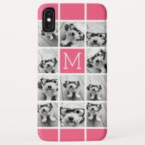 Hot Pink Instagram Photo Collage Custom Monogram iPhone XS Max Case