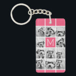 "Hot Pink Instagram Photo Collage Custom Monogram Keychain<br><div class=""desc"">Use up to 11 square or selfie phone photos to create a unique and personal gift. Or you can keep the hipster puppy and make a trendy keepsake. If you need to adjust the pictures,  click on the customize tool to make changes.</div>"