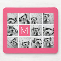 Hot Pink Instagram Photo Collage Custom Monogram Mouse Pad
