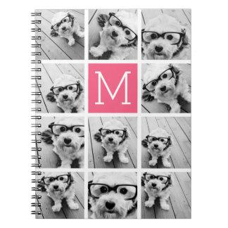 Hot Pink Instagram Photo Collage Custom Monogram Notebook