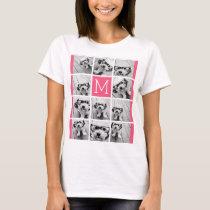 Hot Pink Instagram Photo Collage Custom Monogram T-Shirt