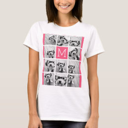 Hot Pink Instagram Photo Collage Custom Monogram T-Shirt
