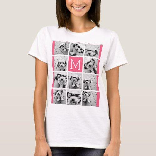 Hot Pink Instagram Photo Collage Custom Monogram T_Shirt