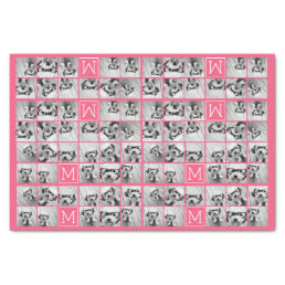 Hot Pink Instagram Photo Collage Custom Monogram Tissue Paper