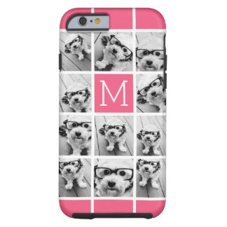Hot Pink Instagram Photo Collage Custom Monogram Tough iPhone 6 Case